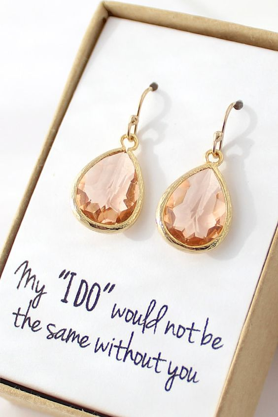 Peach Champagne Earrings  Peach Bridesmaid Earrings by ForTheMaids, $24.00 for ALEXIS