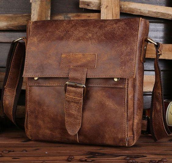 Men's Vintage Genuine Cow Leather Brown Shoulder Messenger bag Satchel Bags   Clothing, Shoes & Accessories, Men's Accessories, Backpacks, Bags & Briefcases   eBay!