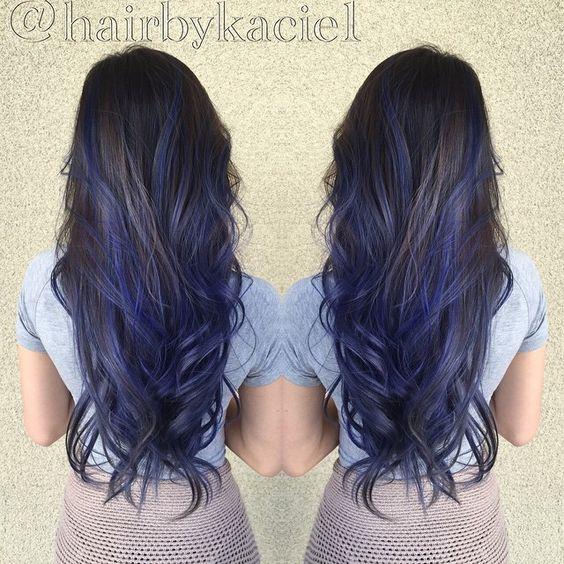 Love this blue on black hair!