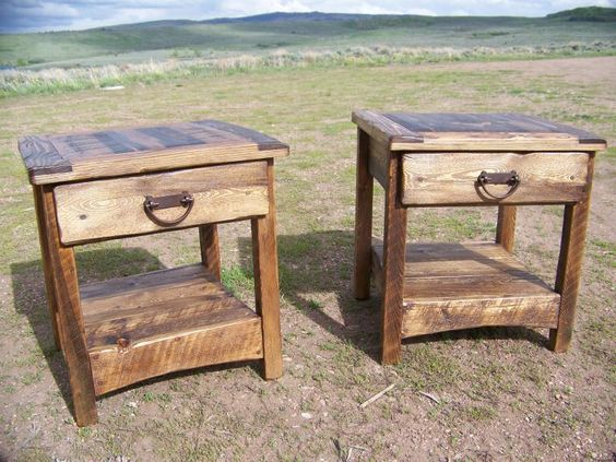 Rustic End Table Country Primitive Weathered Wood