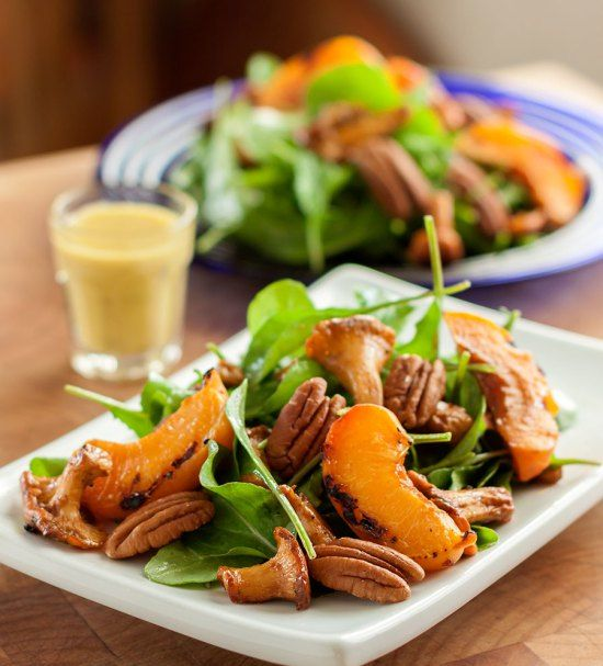 Maple-glazed Chanterelle & Arugula Salad with Grilled Apricots and Pecans. A little pure maple syrup heightens and enhances the naturally sweet, fruity aroma and flavor of fresh chanterelles. This simple, yet elegant salad is visually appealing and tastes like a rare gourmet treat, yet is very easy to prepare.