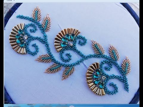 Hand Embroidery Amazing Design With Pearl Beads To Make A Stylish Dress Youtub Hand Beaded Embroidery Hand Embroidery Designs Hand Embroidery Design Patterns