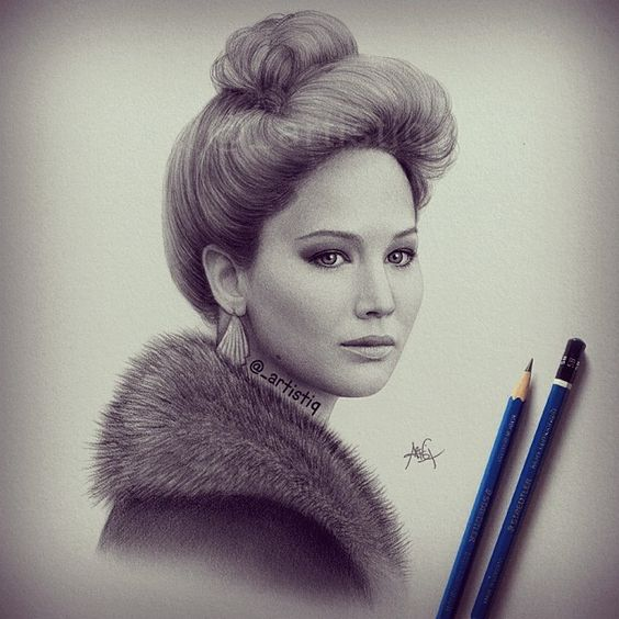 Jennifer Lawrence in 'American Hustle'!  Drawn with graphite pencils.