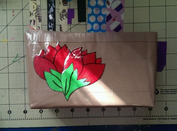 Roses zipper pouch  accessories pouch duct tape by theducktapediva, $6.00