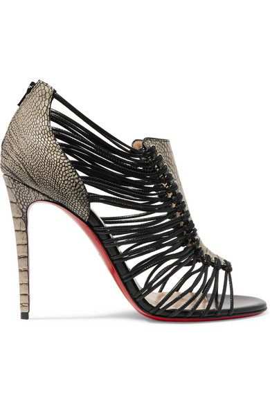 knock off red bottom shoes for women - CHRISTIAN LOUBOUTIN Amal 100 Ostrich And Leather Sandals ...