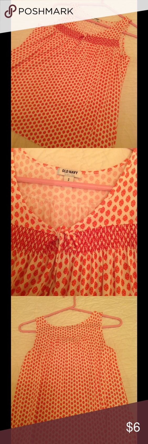 old navy summer top size small old navy coral & white top . size small. very cool and comfortable. no flaws. keyhole front with tie. Old Navy Tops