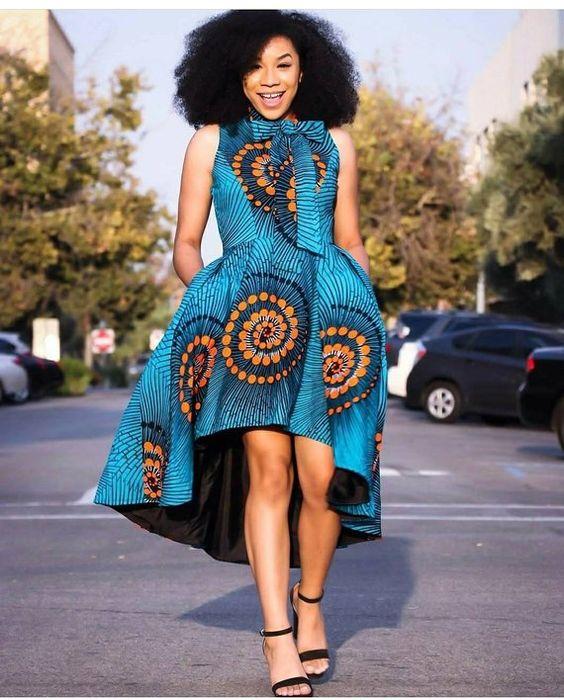 African Print High Low Dress- Sleeveless Dress - Ankara - Ankara Print - African Dress - Handmade -