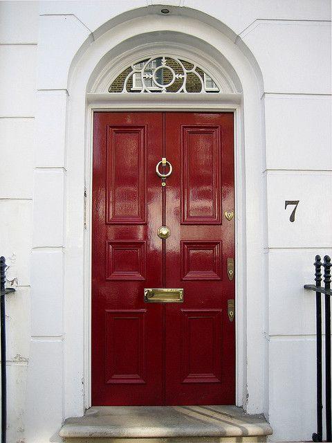 Burgundy Door with brass door furniture. For the door furniture click below: http://www.priorsrec.co.uk/door-furniture/c-p-0-0-3