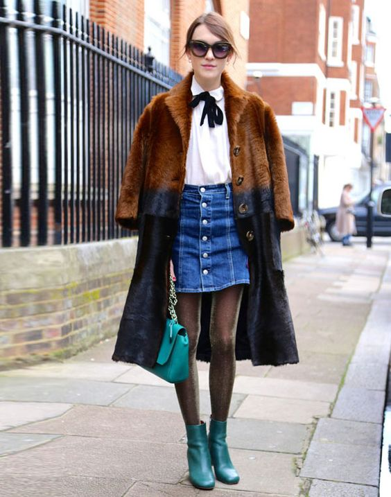 look button front skirt street style