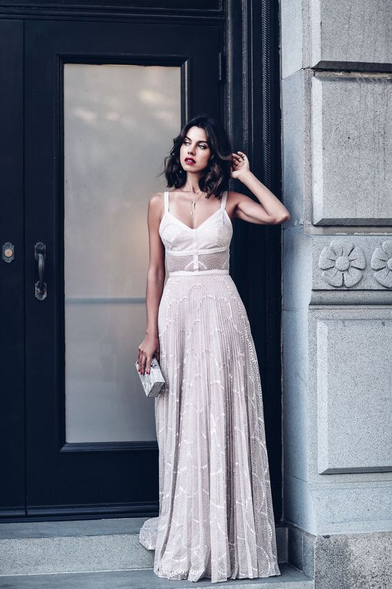 nude lace gown #bridal chic #style #fashion