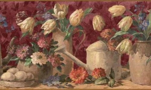 Waverly 5507150 Watering Cans Floral Wallpaper Border Brown Floral Wallpaper Border Wallpaper Border Wallpaper
