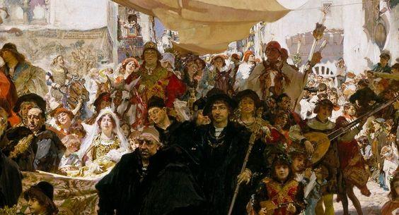 """Francisco Pradilla y Ortiz, """"Cortejo del bautizo del Príncipe Don Juan, hijo de los Reyes Católicos, por las calles de Sevilla"""", Museo del Prado ..."""