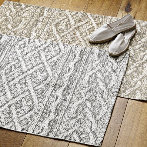 Cable Knit Printed Rug | west elm: Gray Westelm, Cable Knit, Gray 5X8, Chunky Knits, Floor Mats