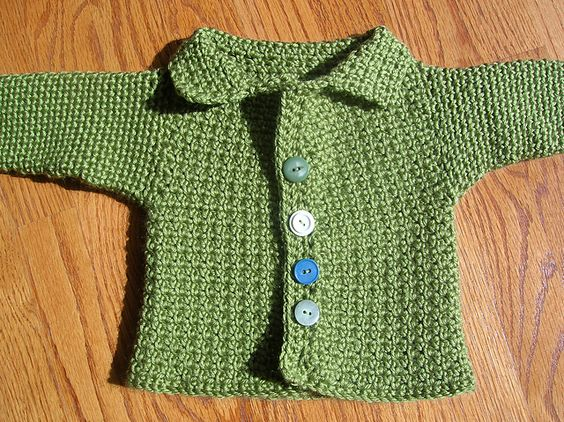Green baby sweater made from a pattern on Ravelry.com, homemade for Calvin.
