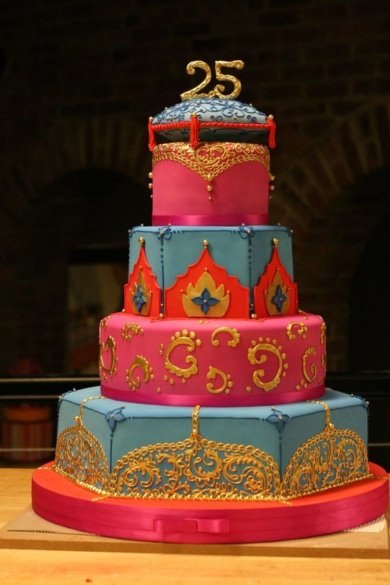 Hot Pink Blue And Gold Birthday Or Wedding Cake With