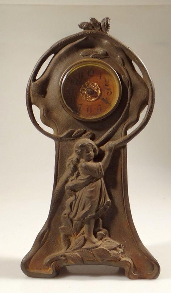Art Nouveau Clock Antique Mantel Clock Cast Metal Body | eBay