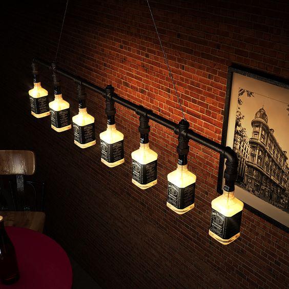 Jack Daniels Glass Beer Bottle Chandelier Lighting industrial water pipe vintage bar decorative lights lighting fixture