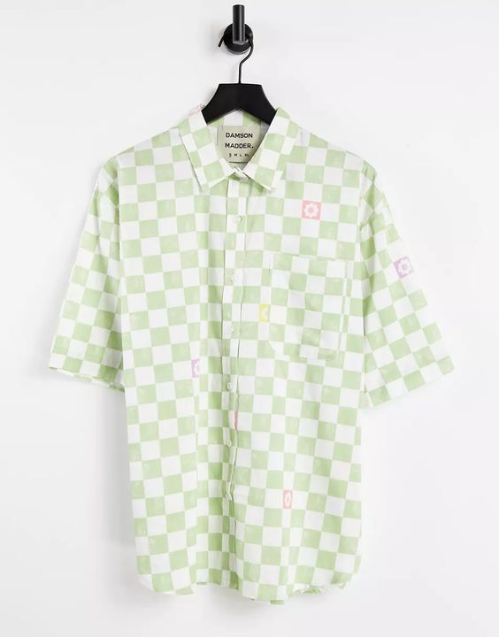 Damson Madder organic cotton oversized shirt in check co-ord