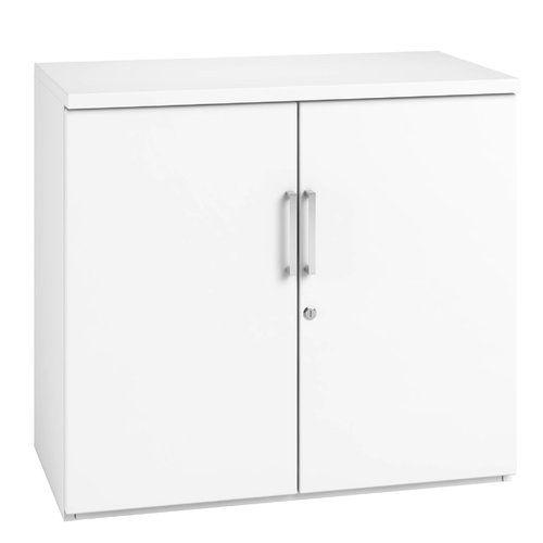 Low 2 Door Storage Cabinet Home Haus Finish White Door Storage Office Furniture Online Storage