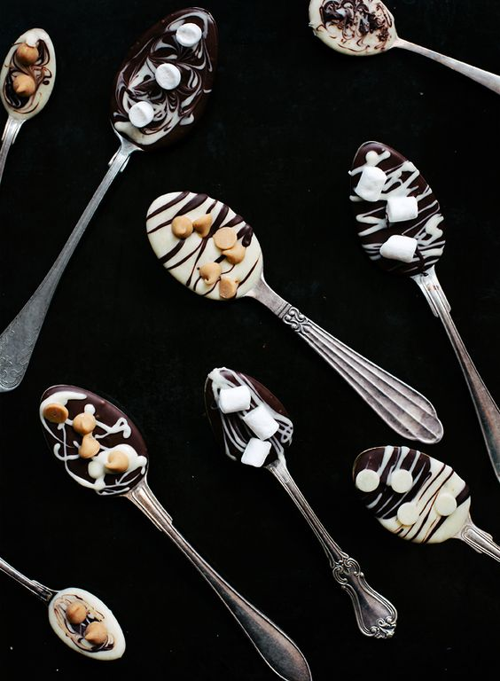 Hot Chocolate Spoons - Melt chocolate in a microwave. Put spoons ...