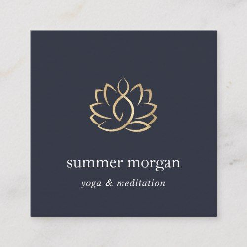 navy gold lotus logo yoga meditation wellness square business card zazzle com navy gold lotus logo yoga in 2020 lotus logo square business card logo yoga pinterest