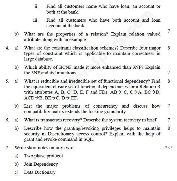 Database Management Systems u2013 BE (PU) Question Paper 2010 SEM - activity director resume