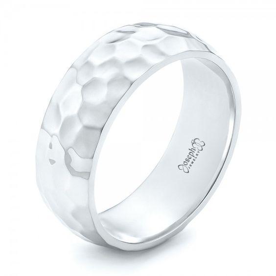 white gold hammered mens wedding band joseph jewelry bellevue seattle online
