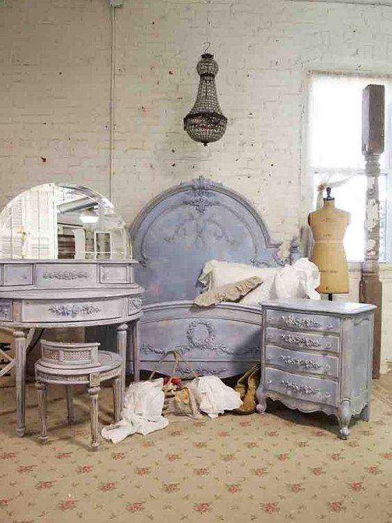 Blue Bedroom Furniture: Painted Cottage French Blue Bedroom Set