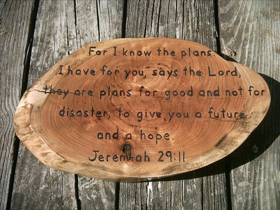 Hand Carved PA wild cherry Jeremiah 29:11 inspirational plaque Bible scripture live edge sign wall