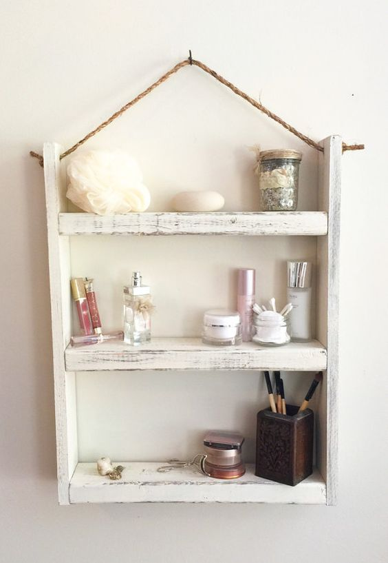 Rope hanging wood shelf bathroom shelf by JustaGirlAndHerSaw