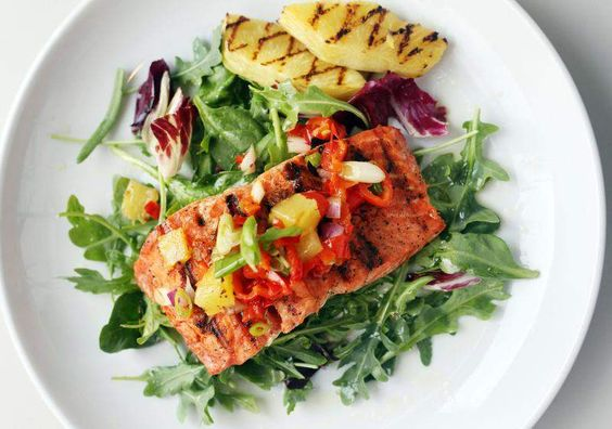 ... Salmon with Salsa and Pineapple | grilling | Pinterest | Salmon