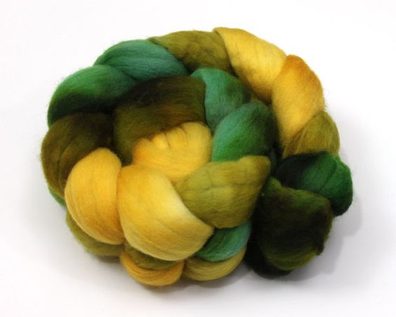 Polwarth Wool Roving Combed Top Hand Dyed by woolgatherings