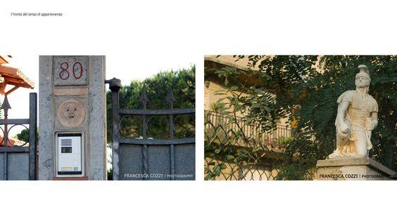 """Ciò che emerge per le strade di quartiere è soprattutto l'ostentazione della proprietà privata: cancelli, recinzioni, videocitofoni, video sorveglianza, cartelli """"di sosta privata"""", di """"attenti al cane""""e nani da giardino. F. C."""