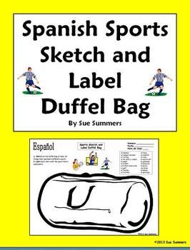 spanish sports duffel bag sketch and label los deportes spanish bags and words. Black Bedroom Furniture Sets. Home Design Ideas
