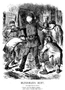 Punch cartoon lampooning police incompetence in the white chapel murders.