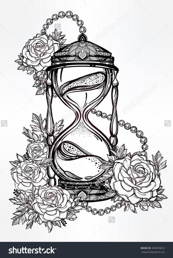 Hand Drawn Romantic Beautiful Drawing Of A Hourglass With Roses