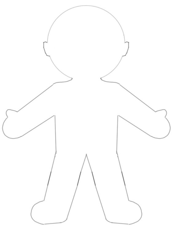 Blank paper doll template for god made me craft god made me special lesson pinterest god for Large paper doll template