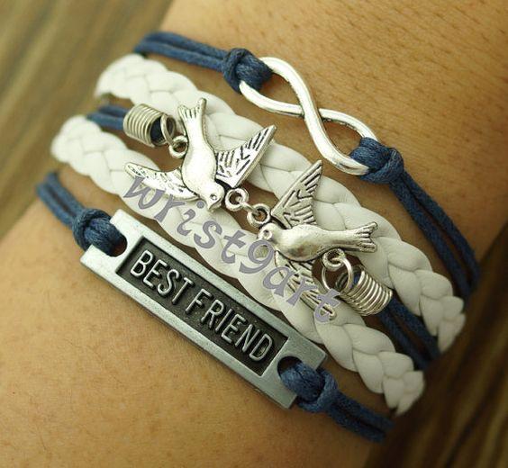 Infinity bracelet  two birds braceletbest friend by wrist9art, $5.99