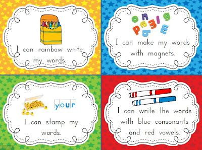 Word work center prompts