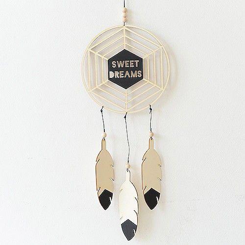 """kinderzimmer dekoration, traumfänger, """"sweet dreams"""", schwarz, aus"""