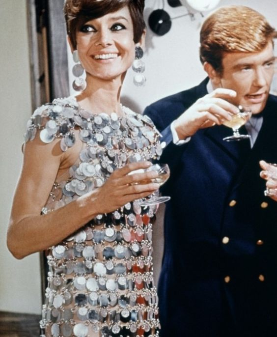 """Audrey Hepburn in her silver Paco Rabanne mini dress from """"Two for the Road"""" 1967"""
