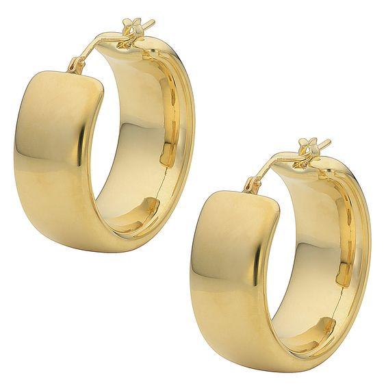Oro Forte 14k Gold Polished Wedding Band Round Hoop Earrings