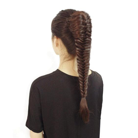 Straight Fishtail Braids Ponytail clip in  Hair Extension