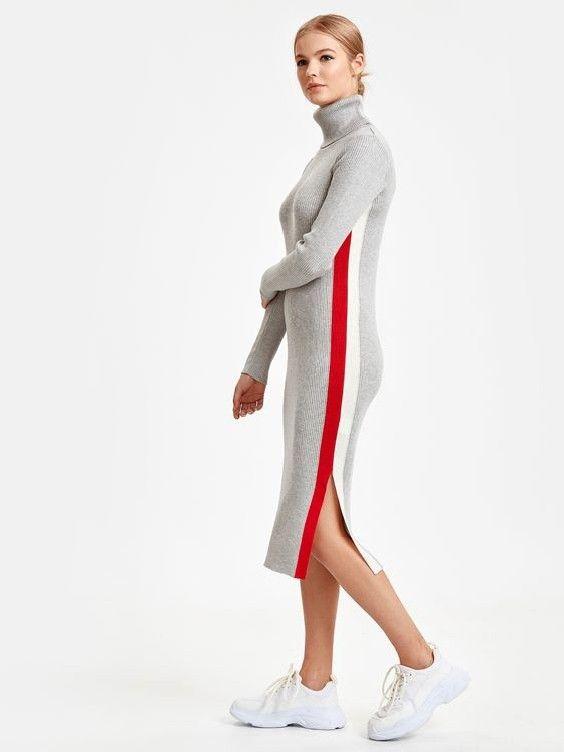 Lcw Bayan Elbise Modelleri Gri Midi Yandan Yirtmacli Bogazli Uzun Kol Triko Elbise Beyaz Spor Ayakkabi Triko Moda Stilleri Elbise Modelleri