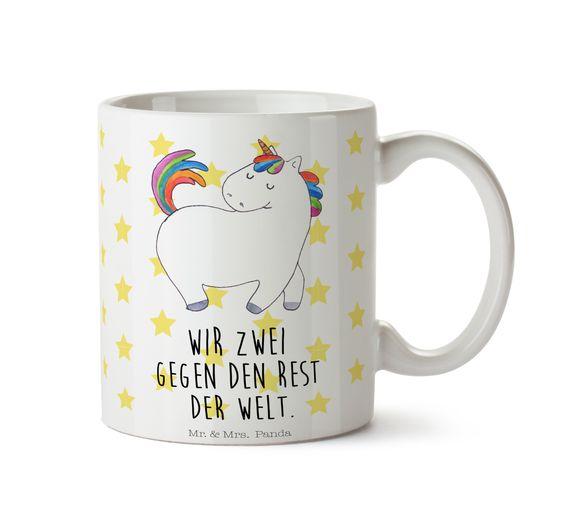 Tasse Einhorn stolzierend aus Keramik  Weiß - Das Original von Mr. & Mrs. Panda.  Eine wunderschöne spülmaschinenfeste Keramiktasse (bis zu 2000 Waschgänge!!!) aus dem Hause Mr. & Mrs. Panda, liebevoll verziert mit handentworfenen Sprüchen, Motiven und Zeichnungen. Unsere Tassen sind immer ein besonders liebevolles und einzigartiges Geschenk. Jede Tasse wird von Mrs. Panda entworfen und in liebevoller Arbeit in unserer Manufaktur in Norddeutschland gefertigt.     Über unser Motiv Einhorn…