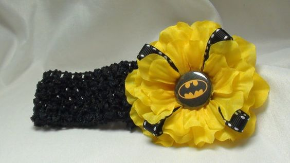 Batman FLOWER HEADBAND yellow flower with  black band, baby headband, baby hair accessories, baby bands,headbands, superhero headbands, cute