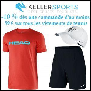 #missbonreduction; 10% de remise sur tous les vêtements de tennis à partir de 59€ d'achats. http://www.miss-bon-reduction.fr//details-bon-reduction-Keller-sports-i853864-c1832326.html
