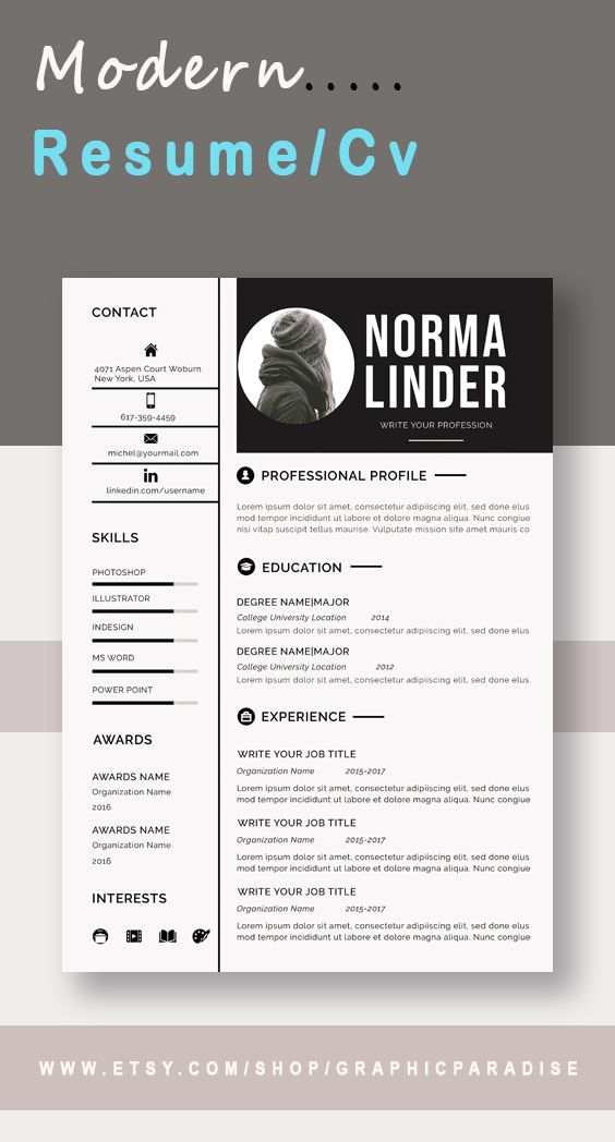 Resume Template Word Professional Resume Template Word Etsy Resume Template Word Cv Template Word Resume Words