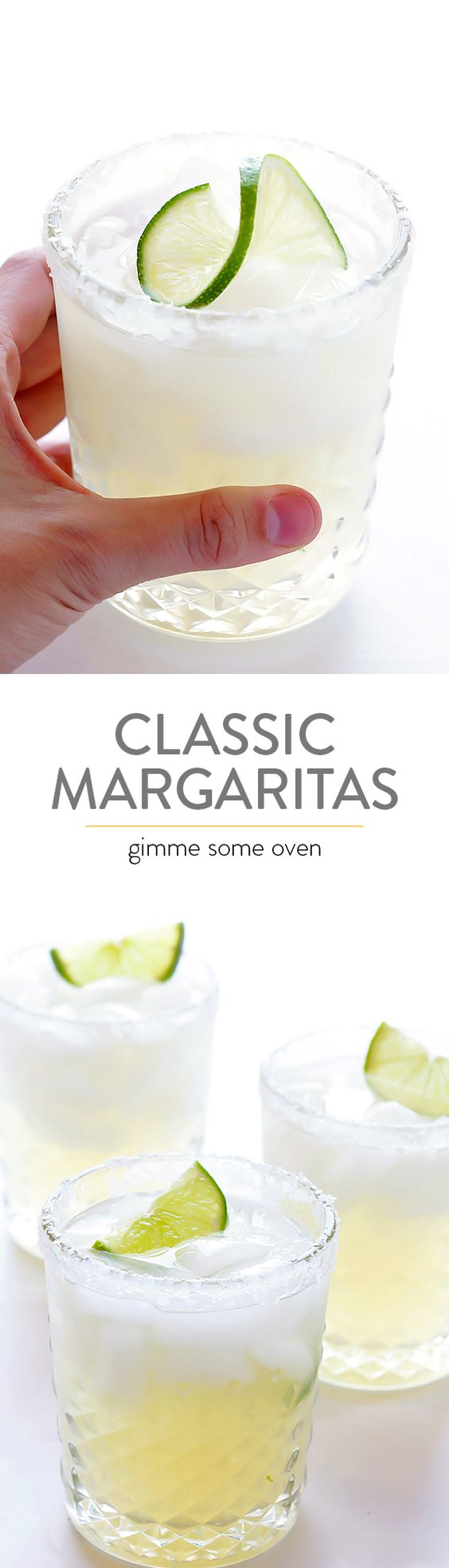 Learn how to make a PERFECT margarita with this simple, classic, 3-ingredient recipe.  It's always a winner! | gimmesomeoven.com