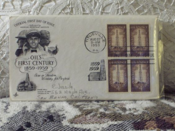http://ajunkeeshoppe.blogspot.com/  First Day Issue / Cover - Stamp - Oils First Century-1959 4c 8ozP725B4HP1173